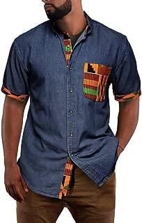 Enjoybuy Mens African Dashiki Short Sleeve Shirt Chambray Denim Tribal Buttoned Down Collar Casual Shirts