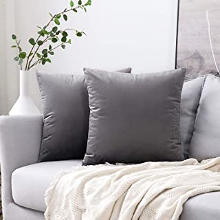 MIULEE Pack of 2 Velvet Pillow Covers Decorative Square Pillowcase Soft Solid Cushion Case for Sofa Bedroom Car 18 x 18 Inch Dark Grey