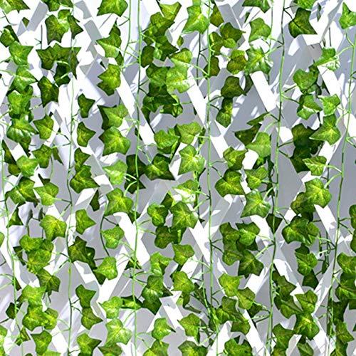Bluelliant Plantas Artificiales Exterior Interior Hojas Artificiales De Enredaderas 25 Metros Decoración para Jardin Vertical Pared Cesped Guirnaldas Cortinas Boda Escalera Puerta