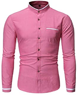 CCSDR Mens Vintage Shirt Solid Button Linen Solid Long Sleeve Retro Tops Blouse