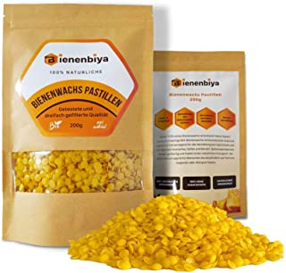 Bienenbiya 100% Reine Bienenwachs Pastillen 200g ohne Zusatzstoffe, 200g natürliches Bio Beeswax für Salben,Kosmetika,Seifen,Bienenwachstücher,Kerzenherstellung und Leder-/Holzpflege