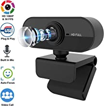 [Fulfilled by Amazon] Carantee Webcam with Microphone, 1080P HD Webcam PC Laptop Desktop USB Camera with Rotating Clip for Video Calls, Online Teaching and Conferences(Black)