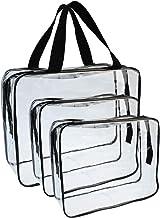 Wobe - 3 bolsas de maquillaje transparentes con cierre,