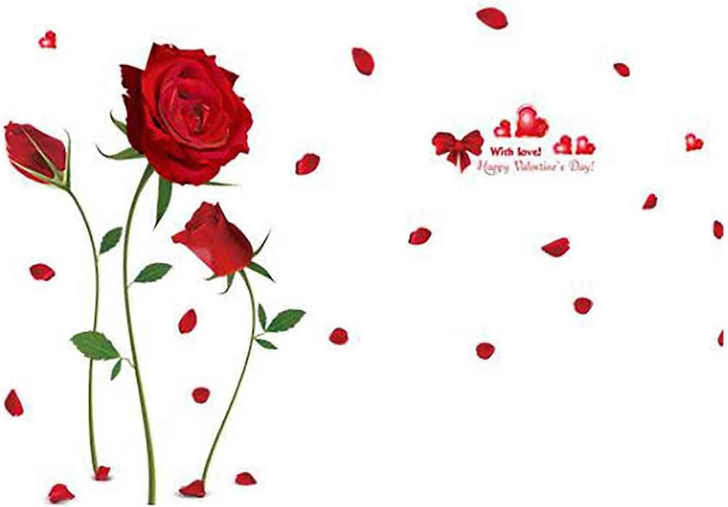 RYGHEWE Wall Max 69% OFF Stickers Decal - Sale Special Price Red Art Mu Rose DIY Sticker
