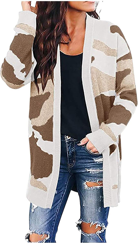 Camo Cardigan Coat for Womens, Open Front Draped Long Sleeve Fashion Plus Size Long Coat Lightweight Outerwear