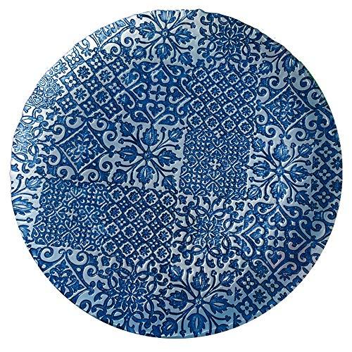 EME Bajo Plato Presentación Catedral Azul Hecho a Mano 6 Unidades en Vidrio Tallado. 32 cm diámetro. 6 Unidades.