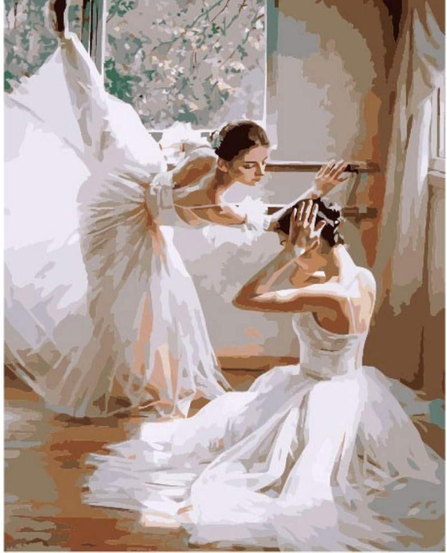 Malen nach Zahlen malen Ballett tänzer DIY leinwand Bild handgemalte ölgemälde Musik mädchen Dekoration 50x65cm B07Q2XKN3R | Hochwertige Produkte