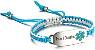 JF.JEWELRY Type 1 Diabetes Medical Alert ID Bracelet for Kids Blue and White Two-Tone Rope Braid Bracelet 6-8 inches