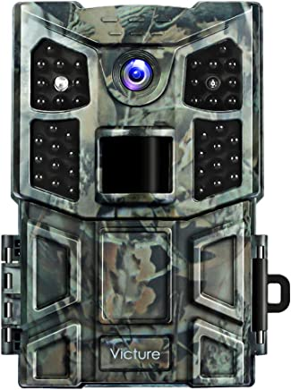 $59 » Victure Trail Game Camera 20MP with Night Vision Motion Activated 1080P Wildlife Hunting Camera No Glow with 0.2s Trigger Speed and Upgrade Waterproof Design for Outdoor Surveillance