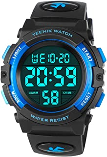 YEENIK Kids Waterproof Digital Watch, Sports LED Wristwatch with Alarm Electronic Stopwatch for Boys Girls and Children