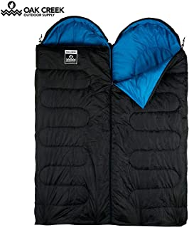 Oak Creek Double Sleeping Bag Bundle. Two Separate Sleeping Bags Designed to Zip Together to Form A Huge Double (85 Inches Long by 58 Inches Wide). Perfect for 3 Season Camping