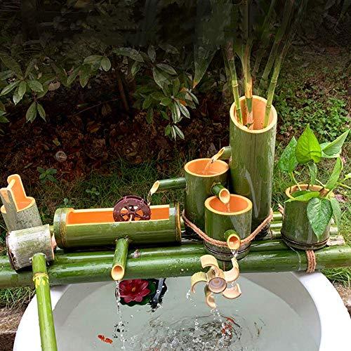 Decoración de fuente de bambú Fuente de bambú Característica de agua Fuente de bambú Decoración Caño de agua con bomba Rueda de feng shui Esculturas Estatuas Artes Artesanía Obra de arte, 40 cm