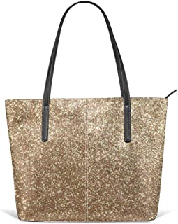Copper Rose Gold Metallic Glitter Leather Tote Large Purse Shoulder Bag Portable Storage HandBags Convenient Shoppers Tote