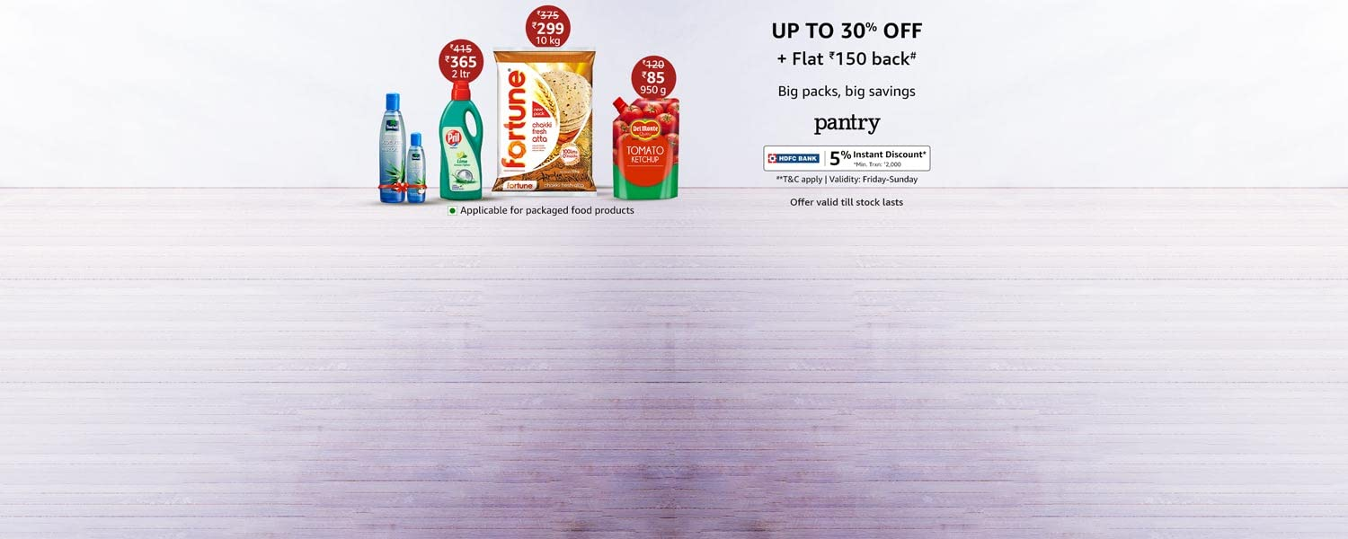 Amazon Offers Today-Coupons-Promo Codes - Up To 30% discount + Extra ₹150 Cash-back on Pantry