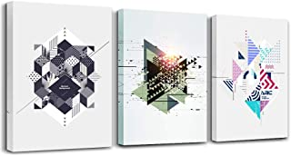 Canvas Prints Artwork Modern Wall Art for Bedroom Bathroom Wall Decor Creative Abstract Color Geometric Pattern Photo Canvas Prints Painting 3 Pieces Home Decoration Living Room Office Posters Works