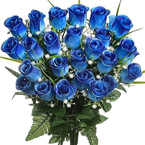 Yyhmkb Flores de Seda eterna Flores de Cementerio Rosas Azules Flores Artificiales para tumbas y amp;Monumentos- Hermosos arreglosazul