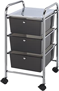 Blue Hills Studio SC3SM 13-Inch by 26-Inch by 15-1/2-Inch Storage Cart with 3 Drawers, Smoke