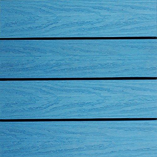 NewTechWood US-QD-ZX-SB Ultrashield Naturale Outdoor Composite Quick Deck Tile (10 Case), 1' x 1', Caribbean Blue