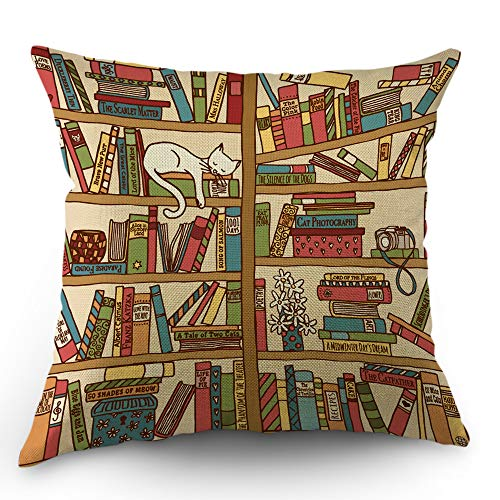 Moslion Book Pillows Decorative Throw Pillow Cover Nerd Book Lover Cat Sleeping Over Bookshelf in Library Boho Design Pillow Case 18x18 Inch Cotton Linen Square Cushion Cover for Sofa Bed