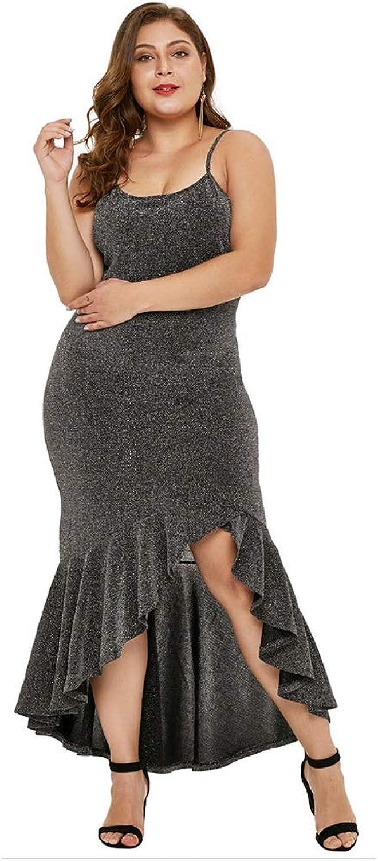 Sexy Sling Evening Dress Sleeveless Irregular Skirt Split Large Size Dress