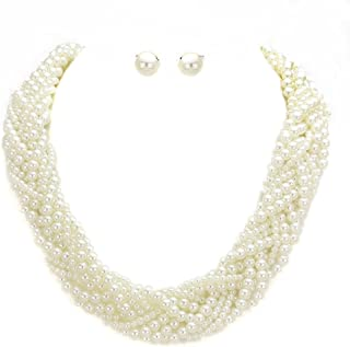 Affordable Statement Mixed Size Simulated-Pearl Braided Chunky Necklace Earrings Set