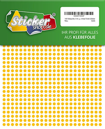 1440 Klebepunkte, 5 mm, gelb, aus PVC Folie, wetterfest, Markierungspunkte Kreise Punkte Aufkleber