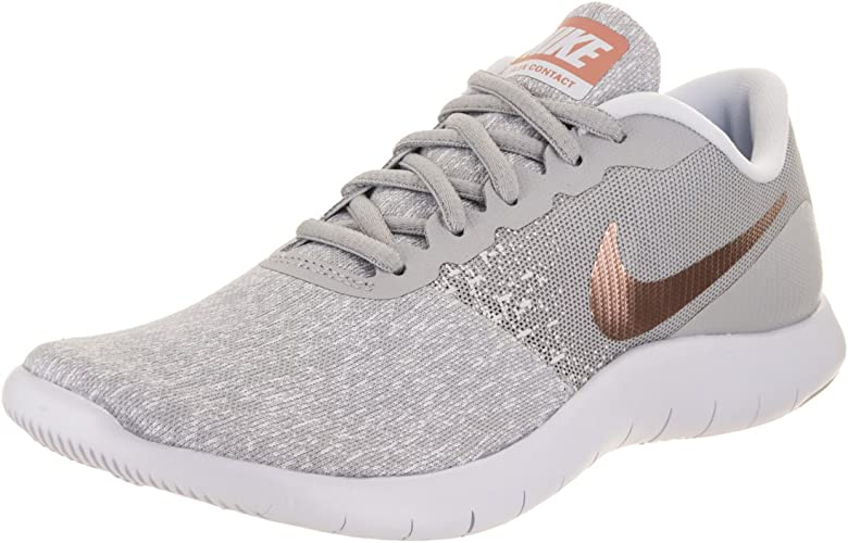 NIKE Wohommes Flex Contact Running chaussures Wolf gris Metallic Rose or (6 B(M) US)