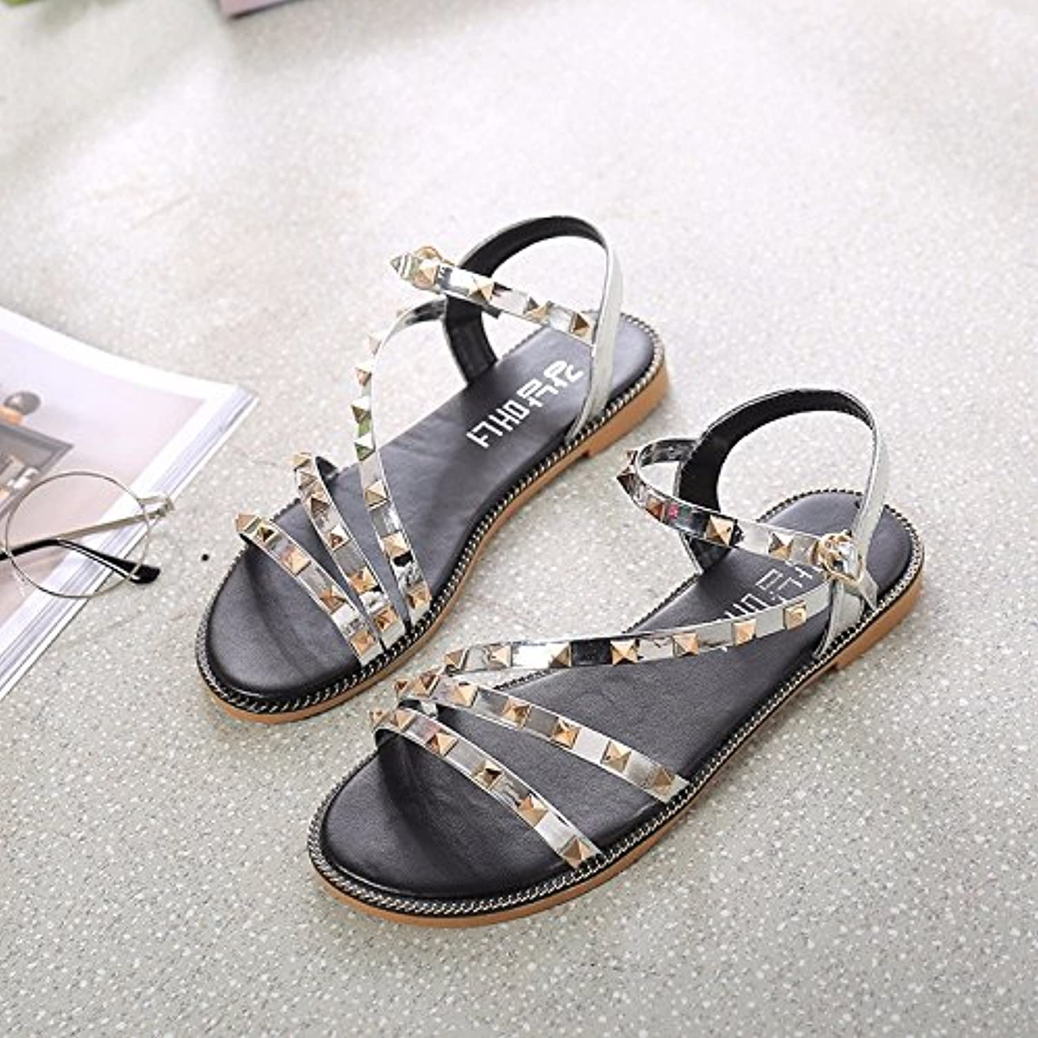 KAI-Flat with flat sandals all-match Rome shoes,silvery,Thirty-six