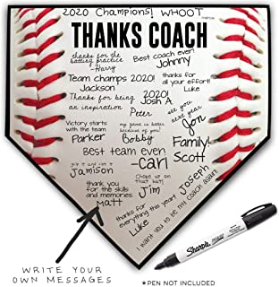 ChalkTalkSPORTS Baseball Coach Home Plate Plaque | Thank You Coach | Ready to Autograph