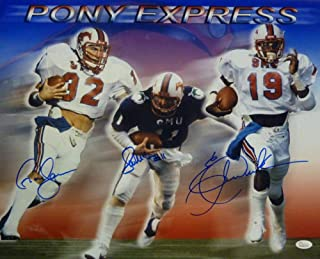 Pony Express Autographed SMU Mustangs 16x20 Photo Dickerson +2 12783 - JSA Certified - Autographed College Photos