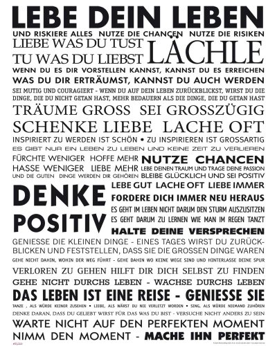 empireposter Motivational - Lebe Dein Leben Motivations Mini Poster Plakat Druck - Grösse 40x50 cm