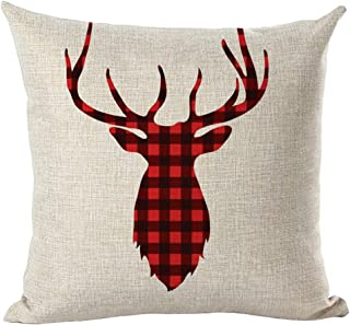 Unionm 83# Pillow Covers Christmas Decor Throw Pillow Case Cotton Blend Red Green Plaid Reindeer Tree Merry Christmas Square 45 x 45 cm 18 x 18 inch Cushion Cover for Home Sofa Car 1 Pack - 1
