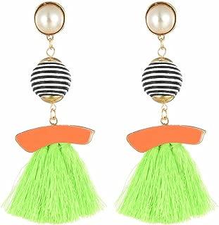 Fashion Jewelry Girls Pearl Black Red Blue Green Epoxy Tassel Long Women Studs Earrings