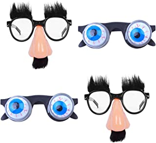 STOBOK 4Pcs Funny Party Glasses Eyeball Glasses Big Nose Eyewear Costume Silly Party Favors April Fools Day Festival Party...