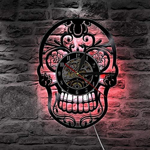 BFMBCHDJ Der Tag der Toten Dia de los Muerte LED-Beleuchtung Wandleuchte Hintergrundbeleuchtung Nachtlicht Mexikanischer Schädel Schallplatte Wanduhr