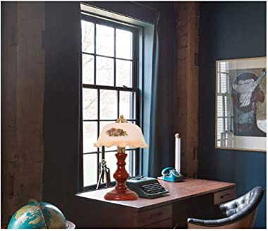 Aoemone European Country Garden Table Lamp Solid Wood Glass Table Lamps American Retro Farmhouse Bedroom Study Desk Lamps Dec