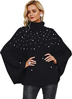 Simplee Apparel Women's Chic Turtleneck Knitted Poncho Pullovers Sweater