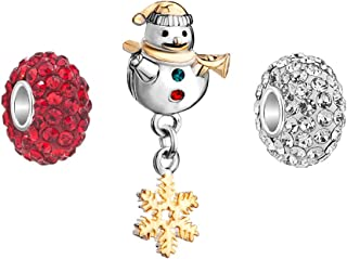 Jesse Ortega 3 Charms Snowman Dangle Charm with Crystal Beads for Bracelets