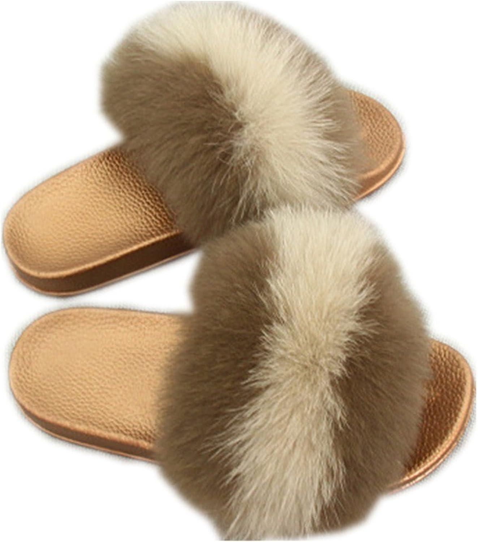 QMFUR Women Real Fox Fur Slippers Fashion Slides Flat Glod Soft Summer shoes for Girls (12, Brown-Khaki)