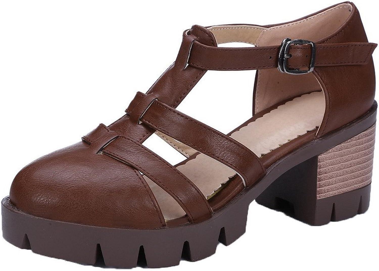 WeiPoot Women's Kitten-Heels Solid Buckle Closed Toe Sandals