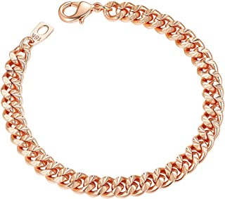 Rose Gold Chain Bracelet for Man Jewelry Also for Women 7mm 21CM Fashion Jewelry Birthday
