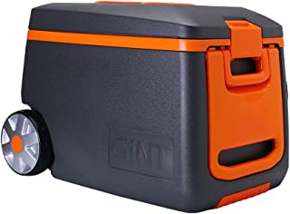 GiNT Rolling Cooler with Handle, 53 Quart Ice Chest Cooler with Wheels, 3-7 Days Ice Retention, Gray