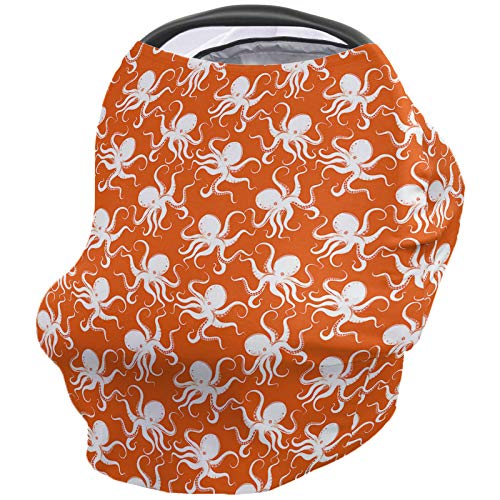 Find Discount Octopus Nursing Cover for Baby Breastfeeding, Soft Breathable Stretchy Carseat Canopy,...