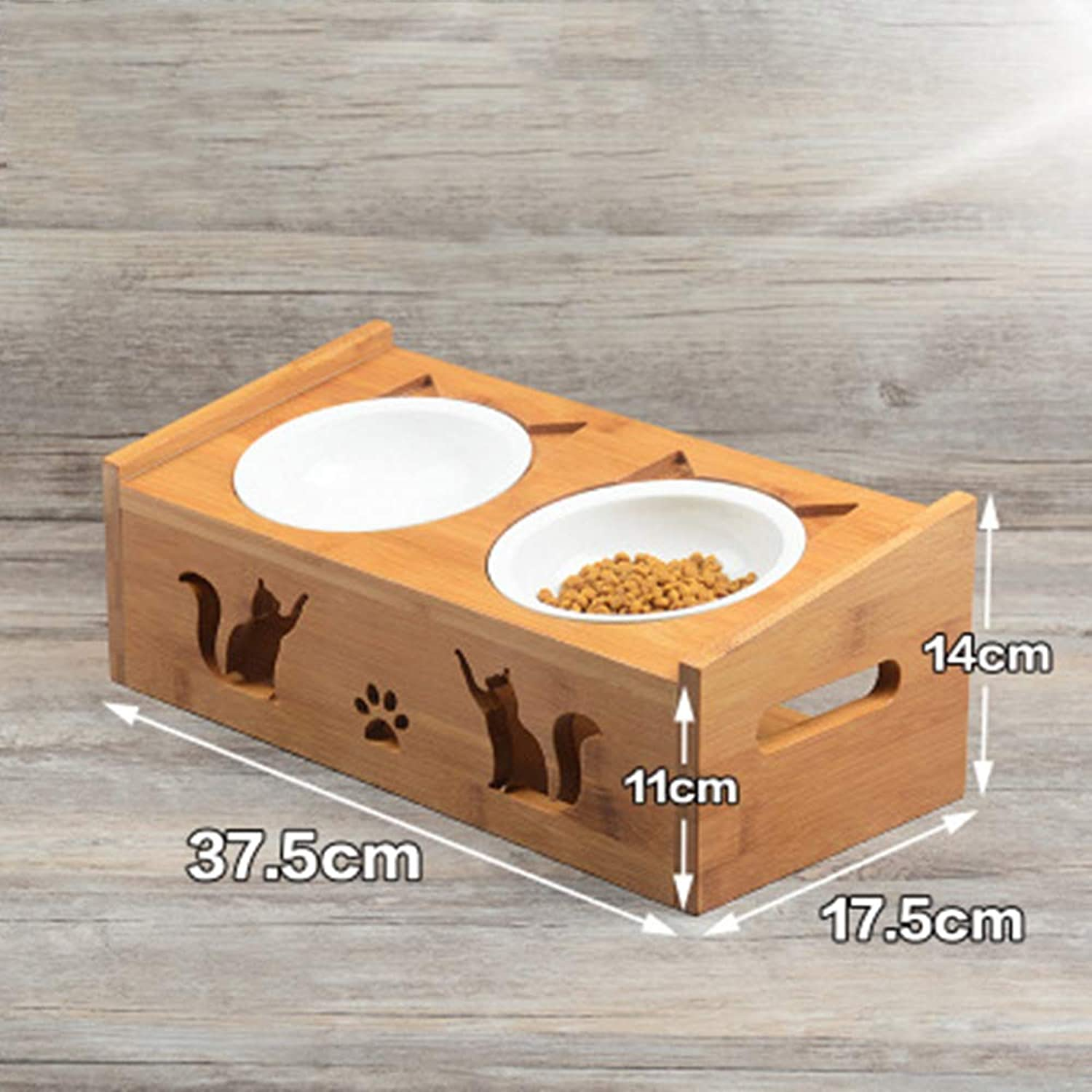LEIYING Pet Ceramic Feeding And Water Bowls With Bamboo Frame For Dogs And Cats Dog Food Bowls Elevated Dog Cat Bowls
