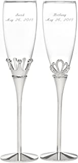 Personalized Royal Pair King and Queen Champagne Flutes - Canopy Street - Custom Engraved Set of 2 (11344P)