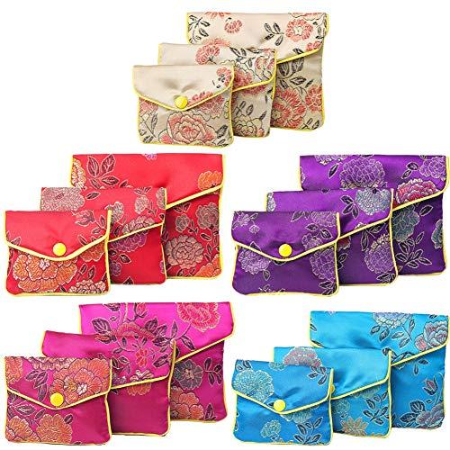 GLAITC 15 Piezas 3 Tamaños Bolsos Pequeños con Cremallera, Bolsos de Seda Bordados Monedero Bolsos de Seda de Joyería Bolsa de Regalo Bolsas de Regalo de Boda para joyería de niña Femenina