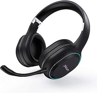 ヘッドホン Bluetooth 4.2 ワイヤレス ゲームヘッドセット ワイヤレスヘッドホン 密閉型 最大54時間連続再生 ANCノイズキャンセリング 高音質 着脱式マイク付き 有線/無線兼用 7色LEDライト付き 折りたたみ式 ブルートゥース...