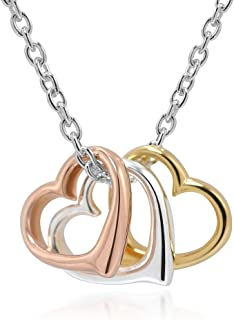 Chuvora 925 Sterling Silver and Rose Gold Three Tone Triple Hearts Pendant Love Necklace, 16-18 inches