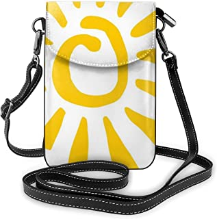 Women Small Cell Phone Purse Crossbody,Childish Doodle Style Sun Figure Circle And Rays Burst Beams Nature Hot Summertime