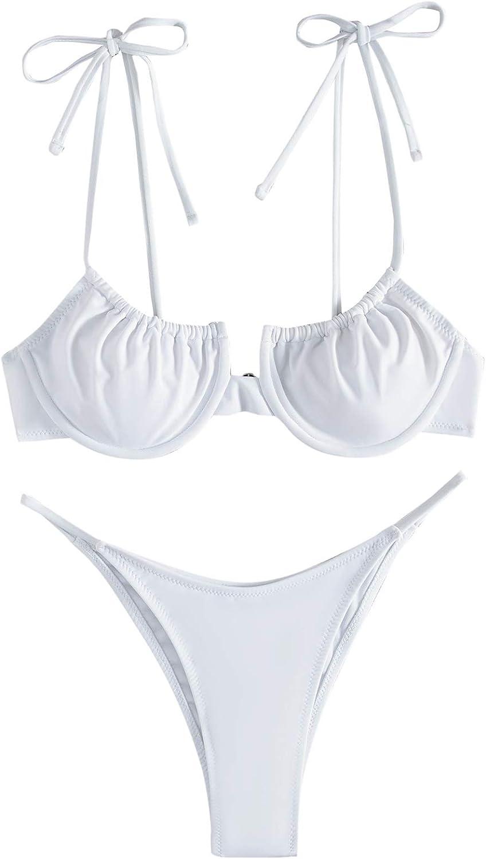 SweatyRocks Women's Underwire Bikini Set Spaghetti Straps 2 Piece Bathing Suit